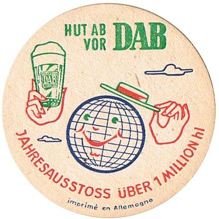 Vintage beer mat promoting DAB (Dortmunder Aktien Brauerei)