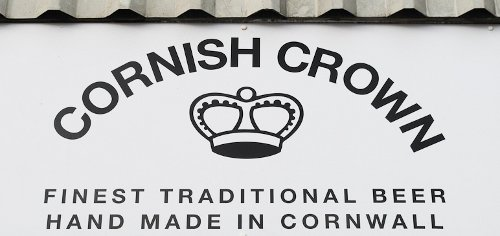 Sign of the Cornish Crown brewery.