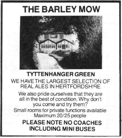 Advert for the Barley Mow pub, St Albans, 1983.