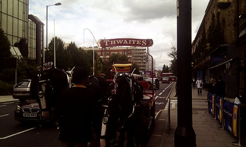 Horse-drawn Thwaites dray at the Great British Beer Festival.
