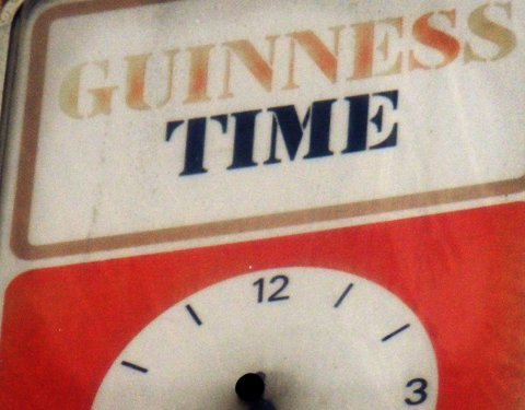 Guinness promotional clock, South London.