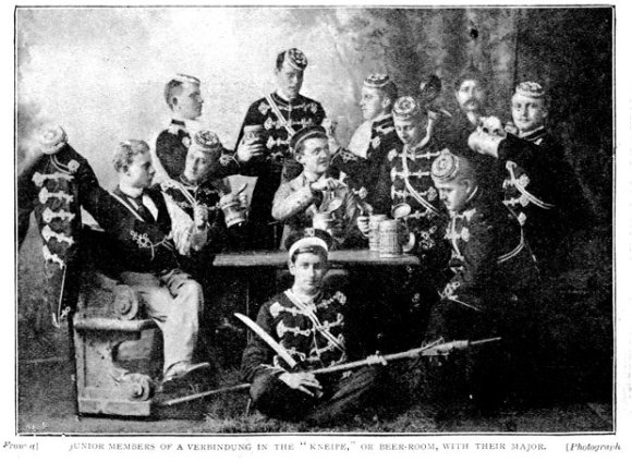 Beer hall: German student society c.1897.