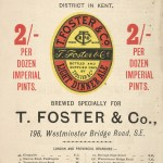 Advertisement for T. Foster & Co. beers, 1889.