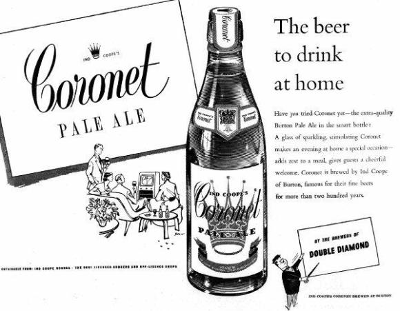 Coronet Pale Ale advertisement, 1950s.