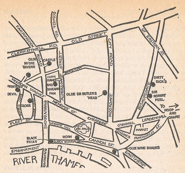 Map of pubs in the City of London, 1968.