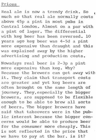 """""""Real ale is now a trendy drink. So much so that real ale now costs above 45p a pint most pubs in Central London."""""""