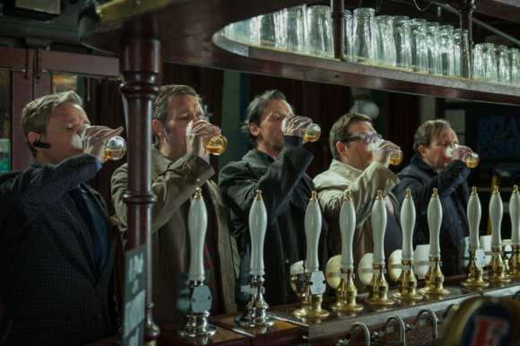 The World's End: the 'gang' lined up at the bar downing lager.