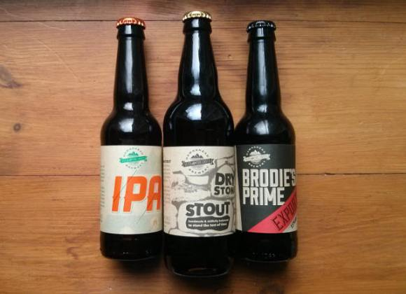 Hawkshead bottled beers: IPA, Dry Stone Stout and Brodie's Prime Export.
