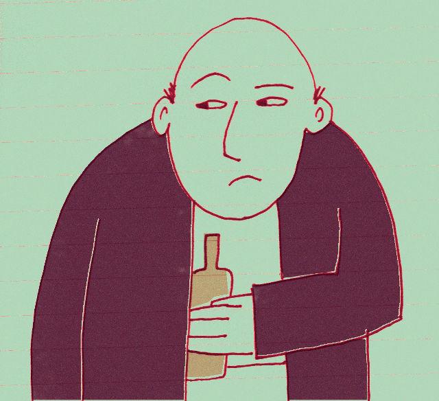 Illustration: man smuggling booze.