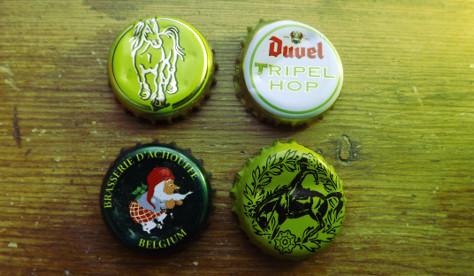Belgian hop beer bottle caps.