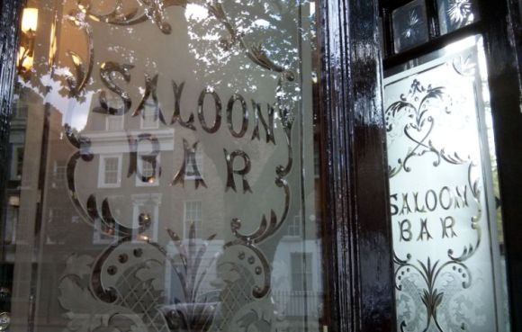 Engraved windows, Islington, North London.