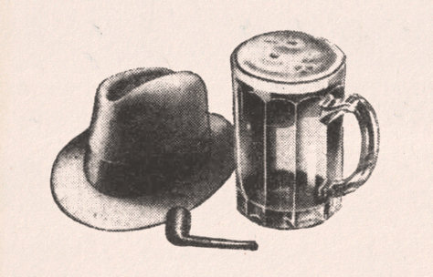 Pipe, hat and pint.