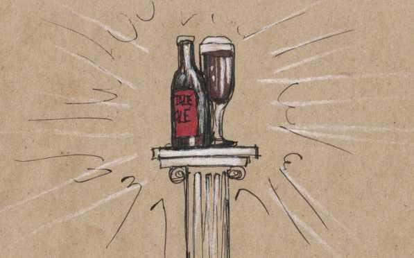 Beer on a pedestal.
