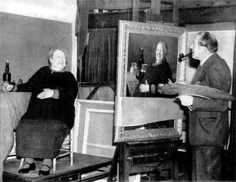 George Belcher painting a 'convivial lady'.