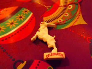 Celebrator plastic goat at Christmas.