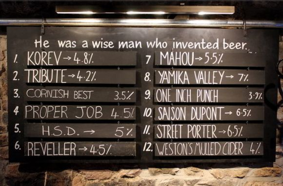 The beer list at the Samuel Jones, Exeter, 17 January 2015.