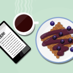 Illustration: Breakfast reading with blueberry waffle.