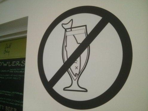 Moor brewery wall sign: 'No fish guts.'