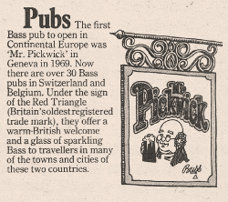 Charrington advert: The Pickwick, Geneva.