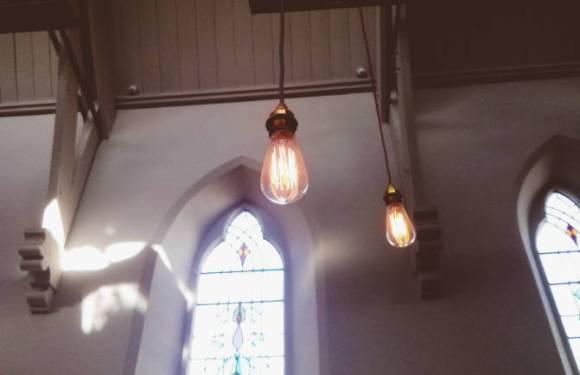 Edison Bulbs at the HubBox, Truro.