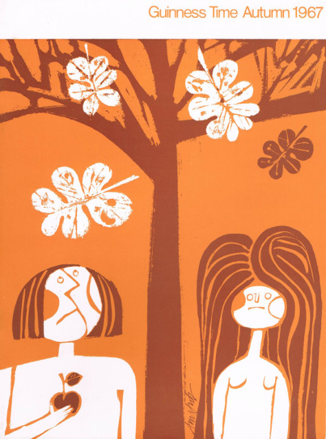 Autumn 1967, front: Adam and Eve with the apple.
