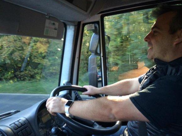 Eddie driving the Harbour Brewing van.