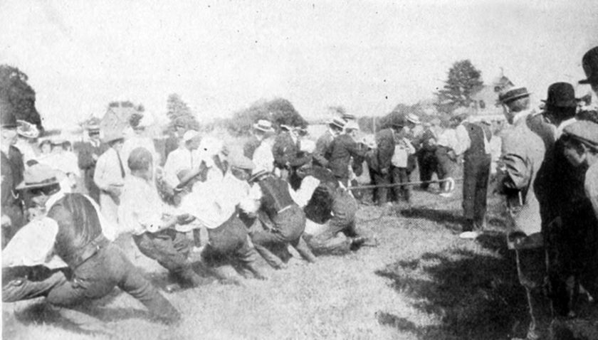 Tug of war -- archive image from 1885.