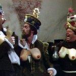 Blackadder II: Hugh Laurie, drunk, in a pair of comedy false breasts.
