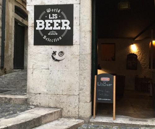 Doorway to Lisbon beer bar.