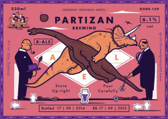 Label for Partizan X ale w. crossed dinosaurs.
