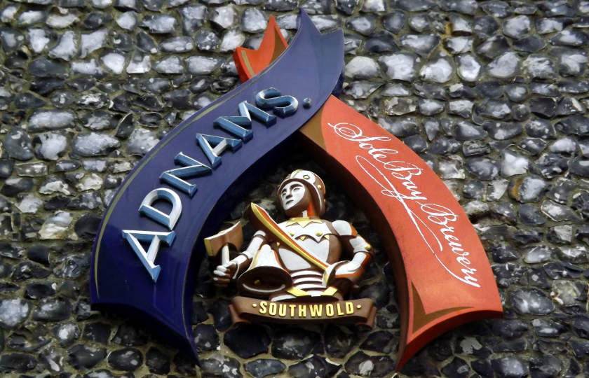 Adnams sign on brewery wall, Southwold.