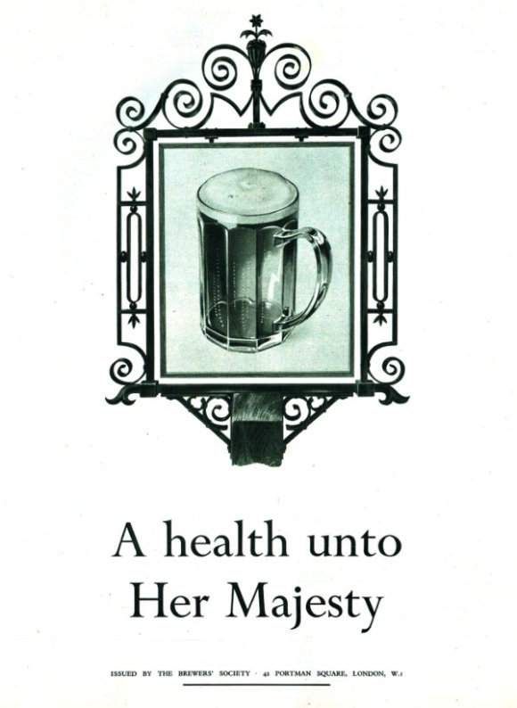 "A ten-sided pint glass on an inn-sign: ""A health unto Her Majesty""."