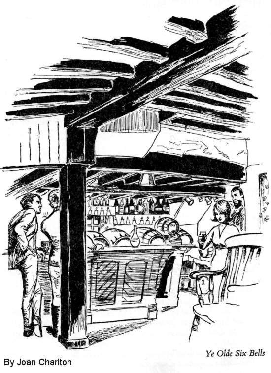 Illustration: Pub scene with low wooden beams and young customers.