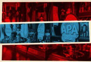 Illustration: beer pumps, splashes of colour.