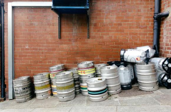 Kegs and casks behind the Free Trade Inn, Newcastle.