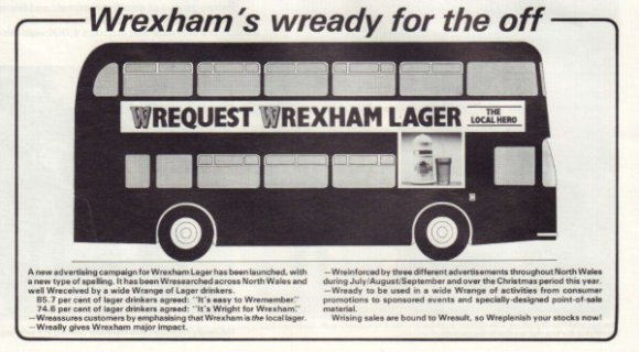 1987 ad for Wrexham Lager.