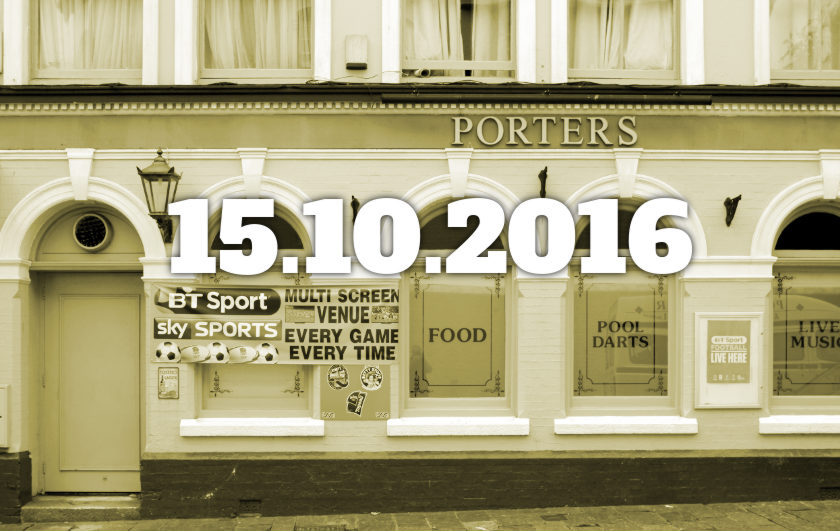 PUB: Porters, Plymouth, with date overlaid.