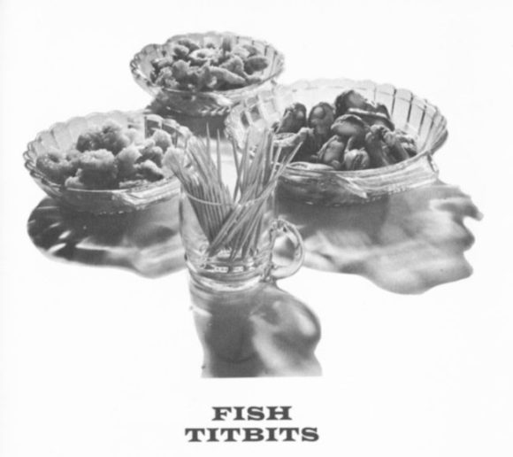 'Fish Titbits' -- bowls of prawns, mussels, etc.