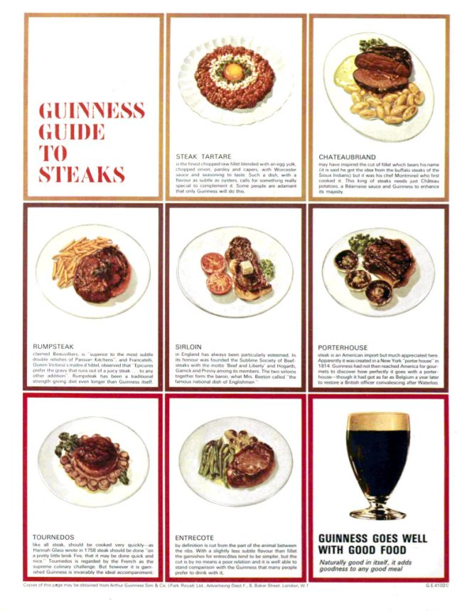 Guinness Ad for steaks from 1966.