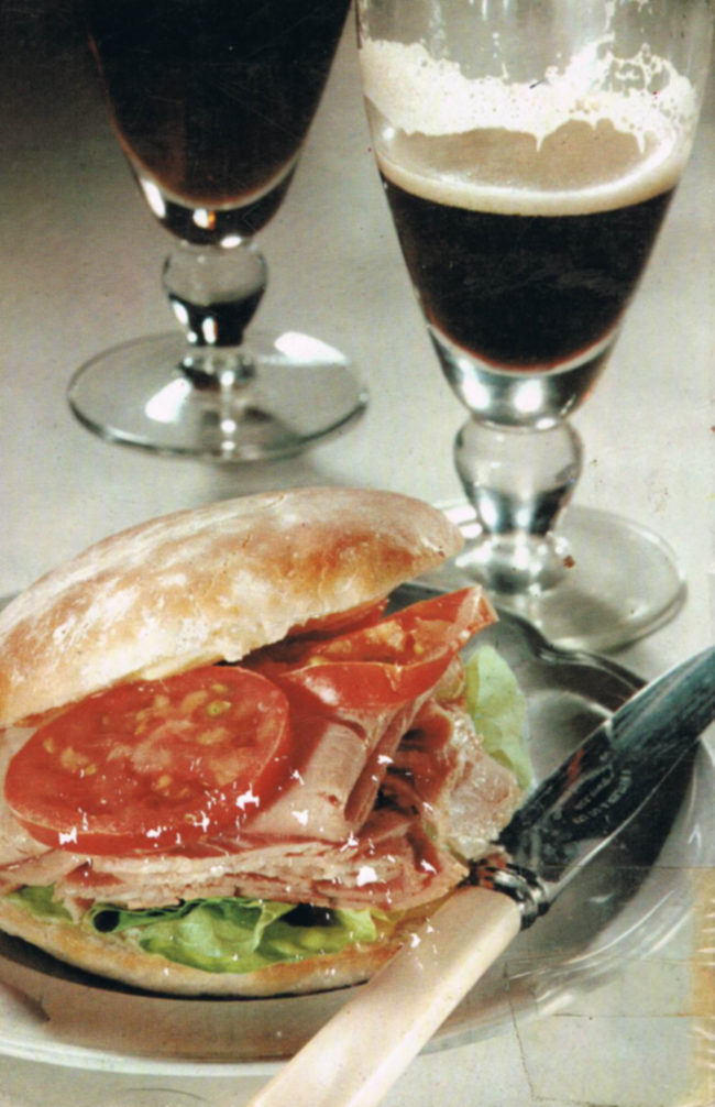 The rear cover: a ham roll with a glass of Guinness.