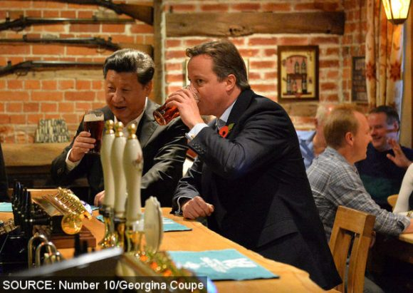 David Cameron and President Xi at The Plough.