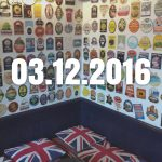 A pub wall decorated with beer pump clips, with date overlaid.