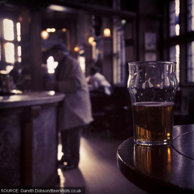 An old man in the Black Friar, London.