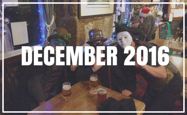 Guise dancers in a Penzance pub at Christmas.