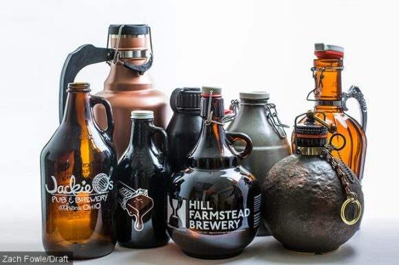 Growlers from Zach Fowle's collection.