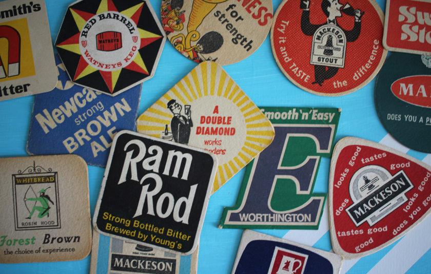 A selection of beer mats from around the 1960s.