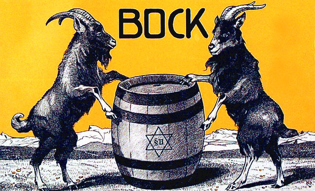 Illustration adapted from a vintage bock beer poster.