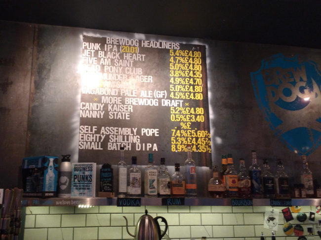Beer menu at BrewDog Bristol.