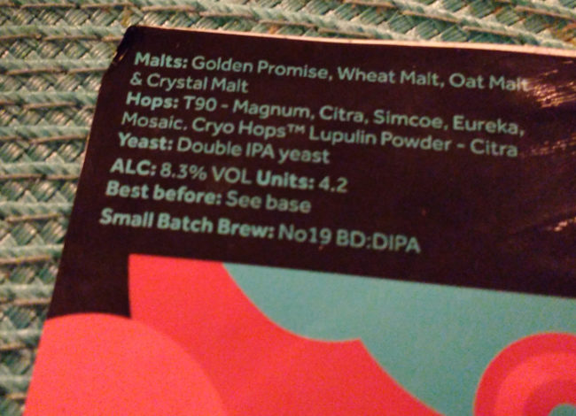 Beer label mentioning lupulin powder.