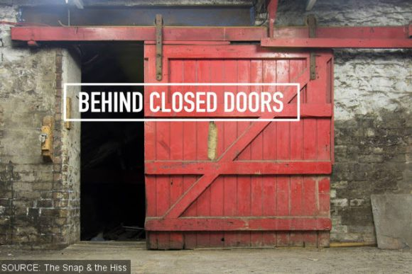 A red door at the old Thwaites brewery.